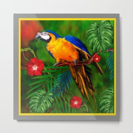 JUNGLE  FOLIAGE BLUE-GOLD MACAW PARROT Metal Print