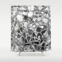 Silver Mirrored Mosaic Shower Curtain