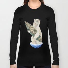 Polar bear & Surf (black) Long Sleeve T-shirt