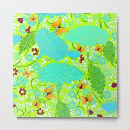 GOLD BUTTERFLIES BLUE-LIME FLORAL ART Metal Print