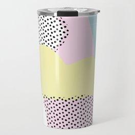 Candy Pink Blue Blobs & Dots Pattern Travel Mug