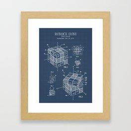 Rubiks cube blueprint Framed Art Print