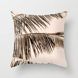 Palm leaves in the sun - light blush background Throw Pillow