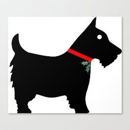 Black Scottiedog Scottish Terrier with Christmas Holly Canvas Print