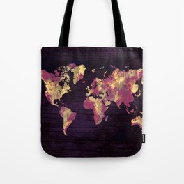world map 86 red yellow Tote Bag