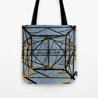 the wire Tote Bags featuring Metal Wire by Lia Bernini