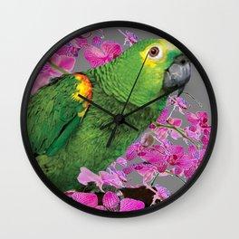 TROPICAL GREEN PARROT & FUCHSIA ORCHIDS  GREY ART Wall Clock