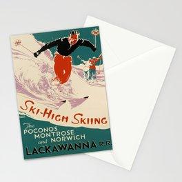 retro ski - high skiing the poconos montrose and norwich lackawanna r.r. circa 1950s Stationery Cards