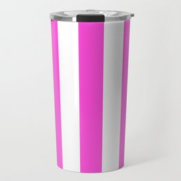 Purple pizzazz pink - solid color - white vertical lines pattern Travel Mug