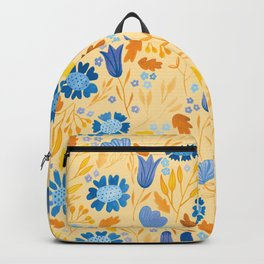 Gouache Floral no.2 | Blue and Ochre Backpack