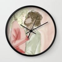 les mis Wall Clocks featuring exr kiss les miserables by Pruoviare
