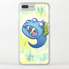 Terrific winged little blue monster Clear iPhone Case