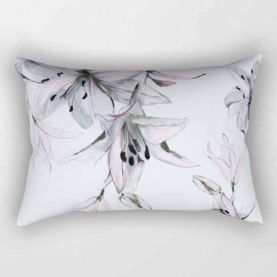 white lilies Rectangular Pillow