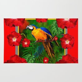 RED HIBISCUS GOLD MACAW JUNGLE ART Rug
