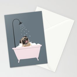 Laughing Pug Enjoying Bubble Bath Stationery Cards