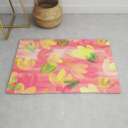 Vibrant Acrylic Painting Layered Tulips Floral Pattern Peach Pink Yellow Green Summer Time Rug