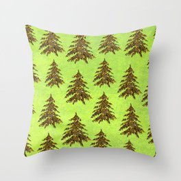 Sparkly Gold Christmas tree on abstract green paper Throw Pillow
