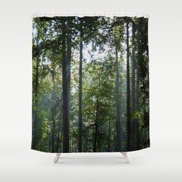 Green forest shrouded the sun. Shower Curtain