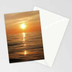 Sun setting over calm waters Stationery Cards