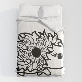 Floral Cute Hedgehog with Roses and Sunflower Comforters