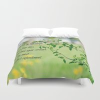 jane austen Duvet Covers featuring Jane Austen Refreshment by KimberosePhotography