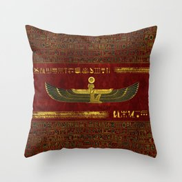 Golden Egyptian God Ornament on red leather Throw Pillow