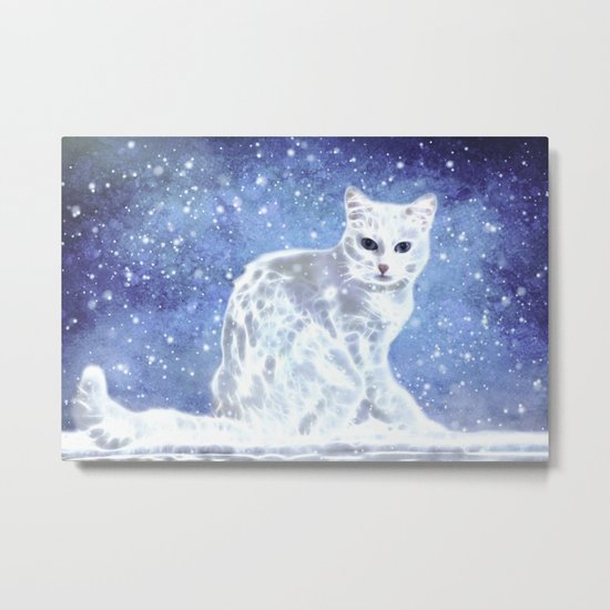 Abstract white cat Metal Print