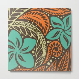 Circular Polynesian Blue Brown Orange Floral Tattoo Metal Print