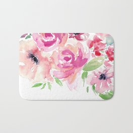 Pink Watercolor Florals with Greenery Bath Mat