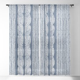 Cable Row Navy 1 Sheer Curtain