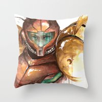 samus Throw Pillows featuring Samus by Alonzo Canto