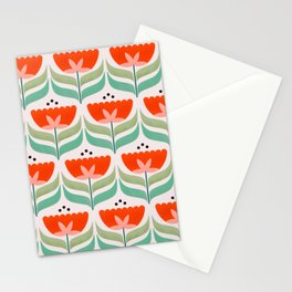 Retro Tulips Pattern Stationery Cards