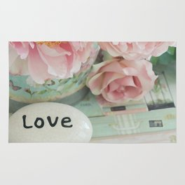 Pink Peonies Shabby Chic Cottage Peony Love Floral Prints Home Decor Rug