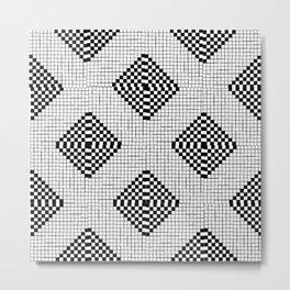 Black & White Grid Tile Pattern Metal Print