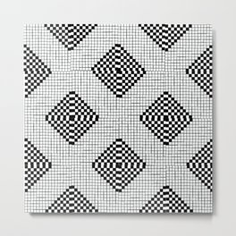 Black & White Grid Tile Pattern Metal Print