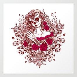 Sexy Woman zombie WITH Flower - Razzmatazz Art Print