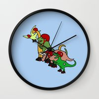 roller derby Wall Clocks featuring Roller Derby Dinosaurs by Jez Kemp
