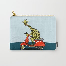 Giraffe riding a moped Carry-All Pouch