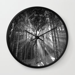 The Golden Light (Black and White) Wall Clock