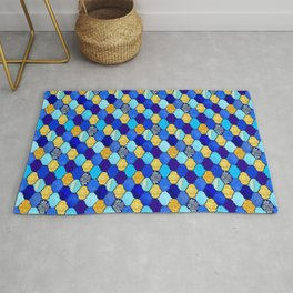 moroccan tiles in blue, aqua and gold Rug