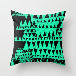 teal triangles Throw Pillow