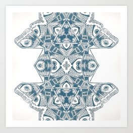 Kaleidoscope Blue Butterfly Print Art Print