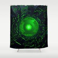 green lantern Shower Curtains featuring GREEN LANTERN LOGO by BeautyArtGalery