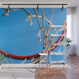 Red Basketball Rim, White Old Rope, Blue Sky Wall Mural