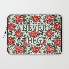 Never Beg - Vintage Floral Tattoo Collection Laptop Sleeve