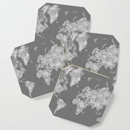 Dark gray watercolor world map with cities Coaster