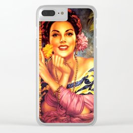 Jesus Helguera Painting of a Mexican Girl Beside Rattan Curtain Clear iPhone Case