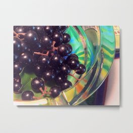 Muscadine Grapes and Glass Metal Print