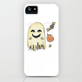 Laughing Halloween Ghost with Bat and Pumpkin iPhone Case