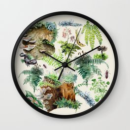 Fungi & Ferns Ivory Wall Clock